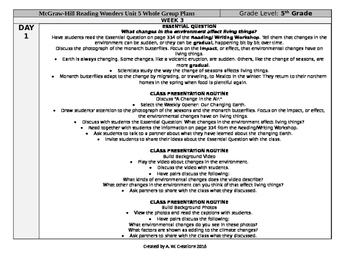 McGraw-Hill Reading Wonders 5th Grade UNIT 5 WEEK 3 Whole Group Plans