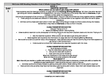 McGraw-Hill Reading Wonders 5th Grade UNIT 6 WEEK 2 Whole Group Plans