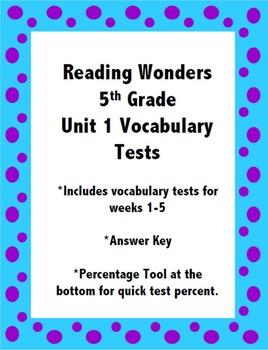 Reading Wonders 5th Grade Unit 1 Vocabulary Tests
