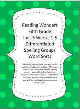 Reading Wonders 5th Grade Unit 3 Word Sorts