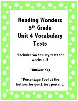 Reading Wonders 5th Grade Unit 4 Vocabulary Tests