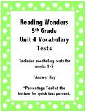 Reading Wonders 5th Grade Unit 4 Vocabulary Tests