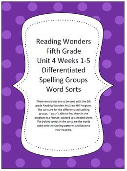 Reading Wonders 5th Grade Unit 4 Word Sorts