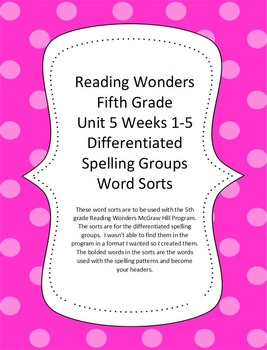 Reading Wonders 5th Grade Unit 5 Word Sorts
