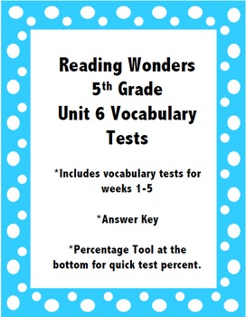 Reading Wonders 5th Grade Unit 6 Vocabulary Tests