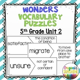 Reading Wonders 5th Grade Vocabulary Puzzles Unit 2 (McGraw Hill)
