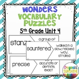Reading Wonders 5th Grade Vocabulary Puzzles Unit 4 (McGraw Hill)