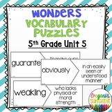 Reading Wonders 5th Grade Vocabulary Puzzles Unit 5 (McGraw Hill)