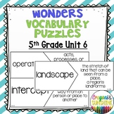 Reading Wonders 5th Grade Vocabulary Puzzles Unit 6 (McGraw Hill)