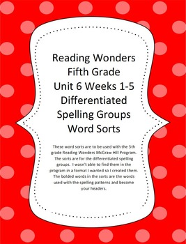 Reading Wonders 5th Grade Word Sorts Unit 6