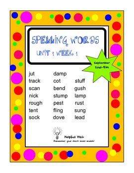 Reading Wonders 5th grade Unit 1 Week 1 Spelling (AL)