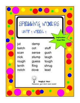Reading Wonders 5th grade Unit 1 Week 1 Spelling (OL)