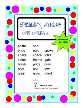 Reading Wonders 5th grade Unit 1 Week 2 Spelling (AL)
