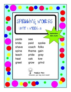 Reading Wonders 5th grade Unit 1 Week 2 Spelling (AL)
