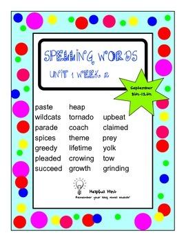 Reading Wonders 5th grade Unit 1 Week 2 Spelling (BL)