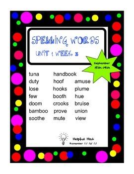 Reading Wonders 5th grade Unit 1 Week 3 Spelling (OL)