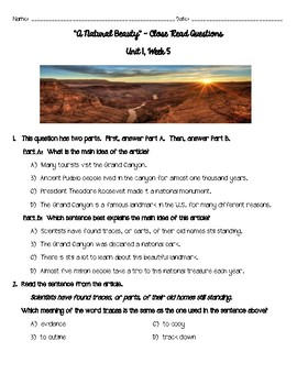 """Reading Wonders ~ """"A Natural Beauty"""" Close Read Questions"""