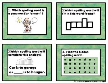 Reading Wonders Unit 1, Week 3 Spelling Task Cards