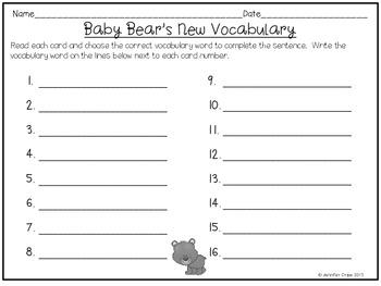 Reading Wonders ~ Baby Bears story activities  (Unit 2, Week 4)