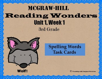 Reading Wonders Unit 1, Week 1 Spelling Task Cards