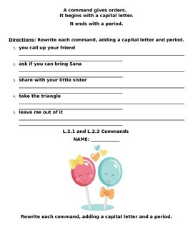 Reading Wonders Big Red Lollipop Grammar Packet (Commands and Exclamations)