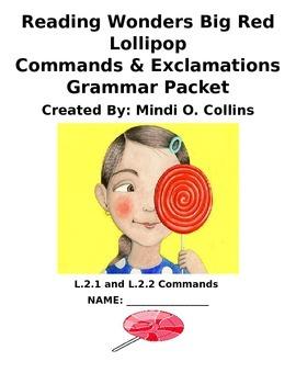 Reading Wonders Big Red Lollipop Grammar Packet (Commands