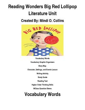 Reading Wonders Big Red Lollipop Literature Unit
