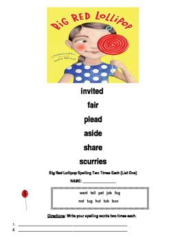 Reading Wonders Big Red Lollipop Spelling Packet