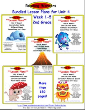 *Reading Wonders  Bundled Lesson Plan Unit 4 Weeks 1_5