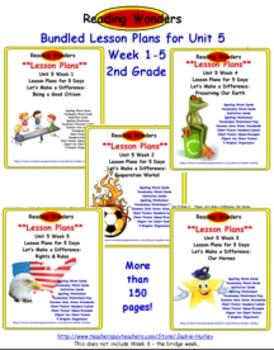 *Reading Wonders: Bundled Lesson Plans Unit 5 Week 1-5
