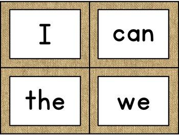 Reading Wonders Burlap High Frequency Word Wall Cards-Kindergarten [Editable]
