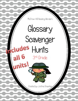Reading Wonders Common Core Glossary Hunts ALL 6 UNITS Grade 3
