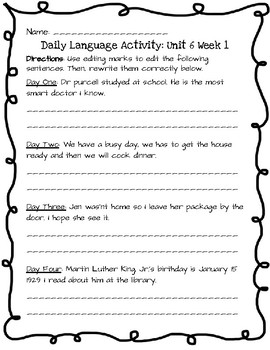 Reading Wonders Daily Edit Activity: Grade 3 Unit 6