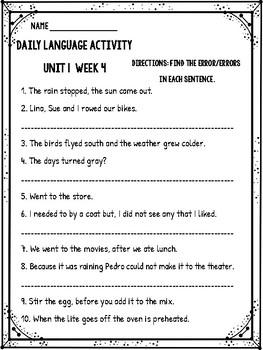 Reading Wonders Daily Language Activity