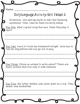 Reading Wonders Daily Language Activity - Grade 4 Unit 1