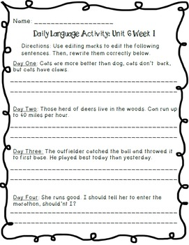 Reading Wonders Daily Language Activity - Grade 4 Units 1-6 BUNDLE