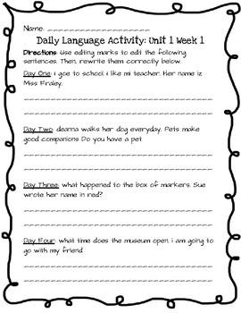 Reading Wonders Daily Edit Activity: Grade 3 Unit 1