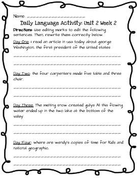 Reading Wonders Daily Edit Activity: Grade 3 Unit 2
