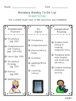 Reading Wonders Differentiated Centers Checklists - Grade 4 Unit 6