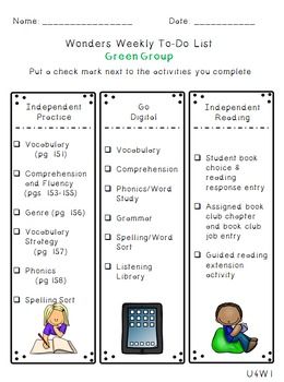 Reading Wonders Differentiated Centers Checklists - Grade 4 Units 1-5 BUNDLE