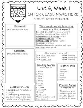 Reading Wonders EDITABLE Newsletters 1st Grade Unit Six