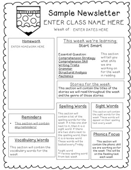 Reading Wonders EDITABLE Newsletters 1st Grade Unit Two