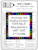 Reading Wonders EDITABLE Newsletters 2nd Grade Unit One