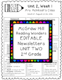 Reading Wonders EDITABLE Newsletters 2nd Grade Unit Two