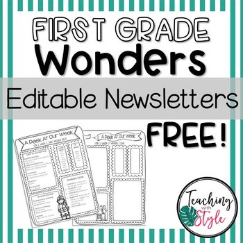 First Grade Wonders Editable Newsletters Units 1-6 and Smart Start