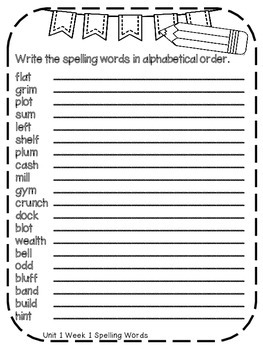 Reading Wonders Extra Spelling Practice 4th Grade *ALL OF UNIT 1*