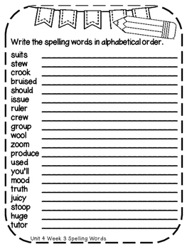 Reading Wonders Extra Spelling Practice 4th Grade Unit 4 Week 3