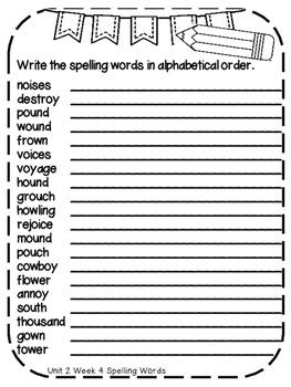 Reading Wonders Extra Spelling Practice 4th Grade Unit 4 Week 4