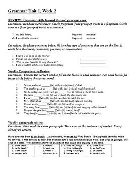 Reading Wonders - FSA Aligned Spelling and Grammar Assessment Unit 1, Week 2