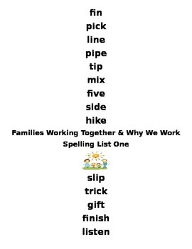 Reading Wonders Families Working Together and Why We Work Spelling Packet